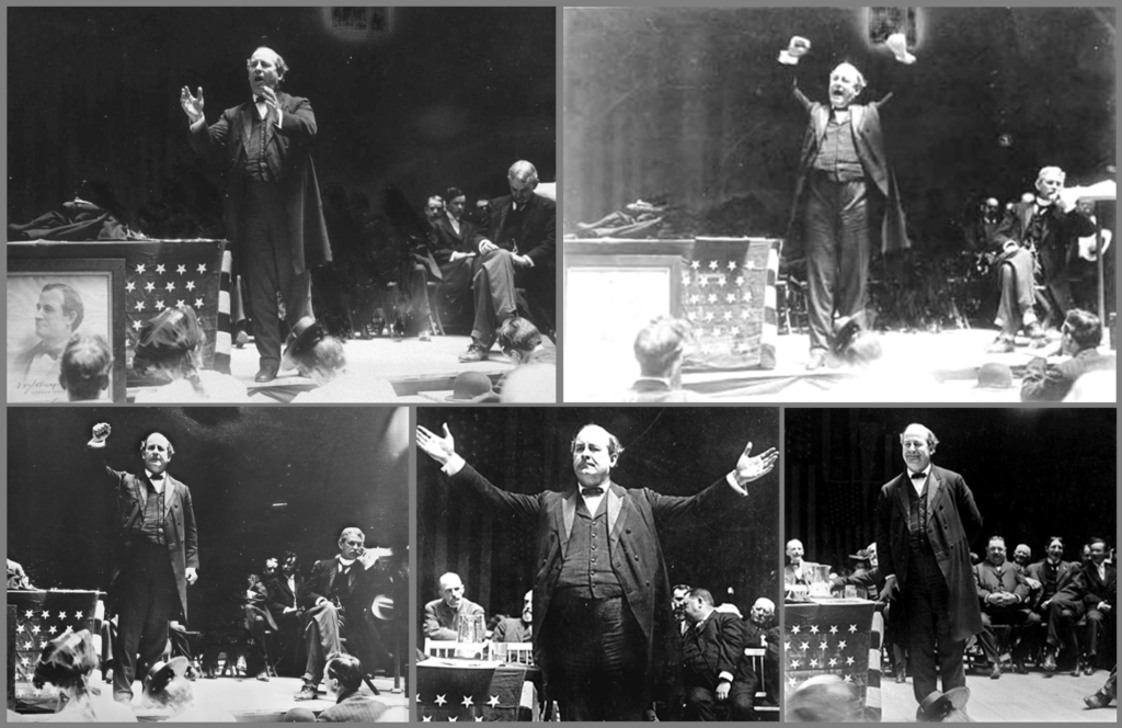 Williams Jenning Bryan speaking at the Democratic National Convention, 1896
